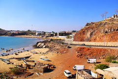 Vissersboten op de kust in Aden, Yemen Stock Fotografie