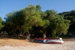 Vissersboten op een strand Royalty-vrije Stock Afbeelding