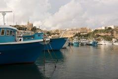 Vissersboten op Gozo Stock Fotografie