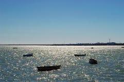 Vissersboten op het strand van Puerto Echt in Cadiz Stock Fotografie