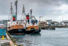 Vissersboten in Reykjavik Haven in IJsland royalty-vrije stock afbeelding