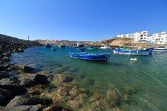 Vissersboten in Tajao, Tenerife stock fotografie