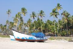 Vissersboten in tropisch strand, Goa Stock Afbeelding