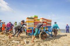 Vissersmens die dichtbij Lange Hai-vissenmarkt werken Royalty-vrije Stock Foto