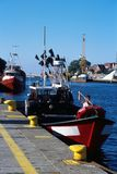 Vissersvaartuig in Kolobrzeg, Polen Royalty-vrije Stock Afbeeldingen