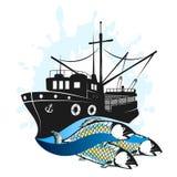 Vissersvaartuig met vangst stock illustratie