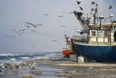 Vissersvaartuigen in Mielno Stock Afbeelding