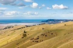 Vissna kullar med Wairau lagun och kocken Strait i Nya Zeeland royaltyfri bild