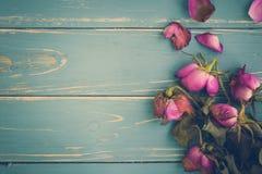 Vissnad blommatappningbakgrund/vissnad blommatappning/vissnade blomman på tappningbakgrund Arkivfoto