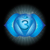 Ajna. Glowing chakra icon . The concept of chakras used in Hinduism, Buddhism and Ayurveda.  Stock Photos