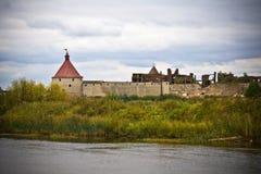 Vista à fortaleza de Oreshek em Shlisselburg Imagem de Stock