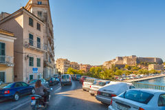 Vista à fortaleza nova de Corfu da terraplenagem Fotos de Stock Royalty Free