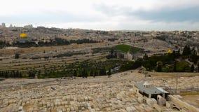 Vista à porta de Damasco e à cidade velha do Jerusalém vídeos de arquivo
