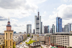 Vista à skyline de Francoforte Imagens de Stock Royalty Free