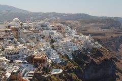 Vista à vila de Fira, capital de Santorini Fotografia de Stock