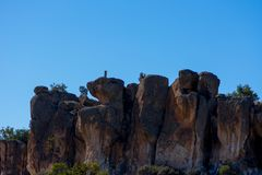 Vista às formações de rocha no vale de Phrygian Imagem de Stock