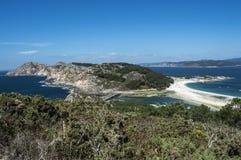 Vista às ilhas de Cies Fotos de Stock Royalty Free