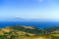Vista a África, el Estrecho de Gibraltar, España Foto de archivo libre de regalías
