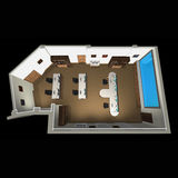vista 3D na disposição do quarto do escritório Imagens de Stock Royalty Free