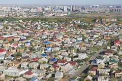 Vista aérea à área residencial da cidade de Astana, Cazaquistão Fotos de Stock Royalty Free