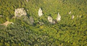 Vista aérea às rochas em Bubnyshche, montanhas Carpathian de Dovbush, Ucrânia video estoque