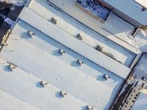 Vista aérea abstrata no inverno, salão na neve imagens de stock royalty free