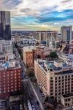Vista aérea al centro de CNN, a Philips Arena y al hotel de Omni Foto de archivo