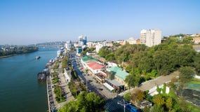 Vista aérea al terraplén de Rostov-On-Don Rusia Foto de archivo libre de regalías