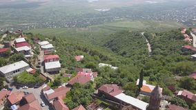 Vista aérea ao centro da cidade de Sighnaghi na região do ` s de Geórgia de Kakheti Signagi vídeos de arquivo