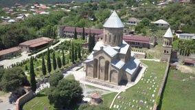 Vista aérea ao monastério de Samtavro em Mtskheta, Geórgia vídeos de arquivo