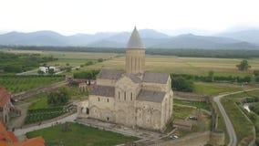 Vista aérea ao monastério um de Alaverdi dos objetos sagrados os mais grandes em Geórgia, situado na região de Kakheti filme