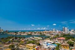 Vista aérea bonita de Cartagena, Colômbia fotos de stock