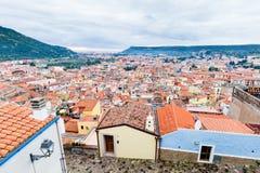 Vista aérea Bosa em Sardinia imagens de stock