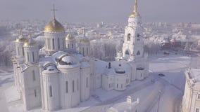 Vista aérea, catedral da suposição no inverno video estoque