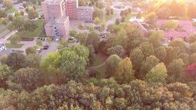 Vista aérea colorida de árvores do outono na cidade de Zwijndrecht do parque, Países Baixos filme