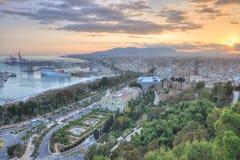 Opinión aérea de Málaga en la puesta del sol Imagen de archivo