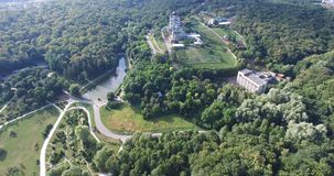 A vista aérea da árvore cobre a floresta e o templo verdes filme