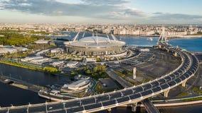 Vista aérea da arena de Gazprom foto de stock royalty free