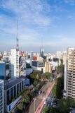 Vista aérea da avenida do paulista na tarde imagem de stock
