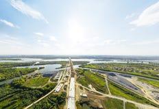 Vista aérea da baixa Estradas transversaas, casas Imagens de Stock Royalty Free