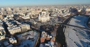 Vista aérea da catedral de Cristo o salvador em um dia gelado 4K DCI video estoque