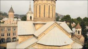 Vista aérea da catedral Tbilisi de Sioni Geórgia 2018 video estoque
