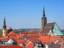 Vista aérea da cidade Bautzen, Saxony, Alemanha fotografia de stock