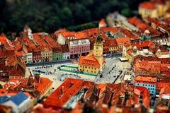 Vista aérea da cidade com efeito do inclinação-deslocamento romania Fotos de Stock Royalty Free