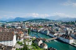 Vista aérea da cidade da lucerna, Suíça Fotografia de Stock Royalty Free