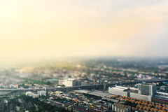 Vista aérea da cidade de Banguecoque, de borrão aplicado do inclinação-deslocamento e de filtro de cor foto de stock royalty free