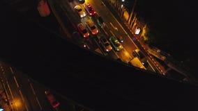 Vista aérea da cidade de Banguecoque na noite Arquitetura da cidade moderna da megalópole na noite Meio da arquitetura da cidade  vídeos de arquivo