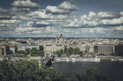 Vista aérea da cidade de Budapest fotos de stock royalty free