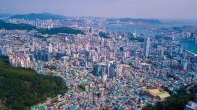 Vista aérea da cidade de Busan, Coreia do Sul Vista aérea de Busan para fotos de stock
