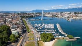 Vista aérea da cidade de Genebra do lago Leman em Suíça Imagem de Stock